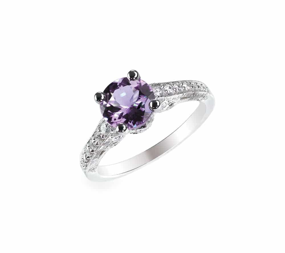 diamond amethyst purple ring
