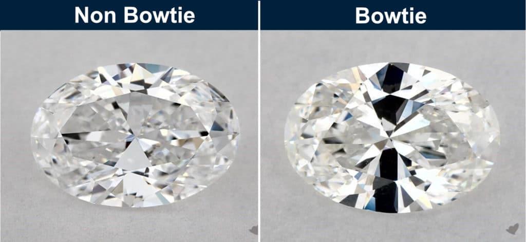 oval cut diamond bowtie effect