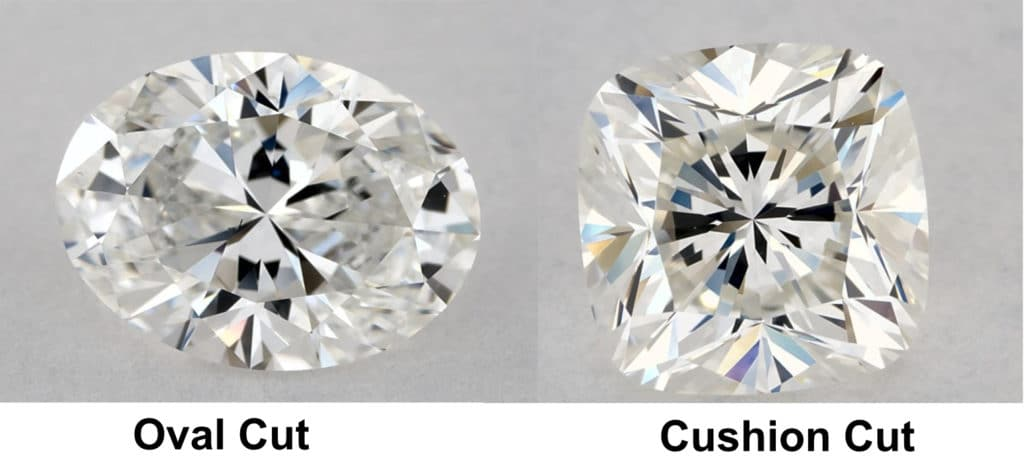 oval vs cushion cut example