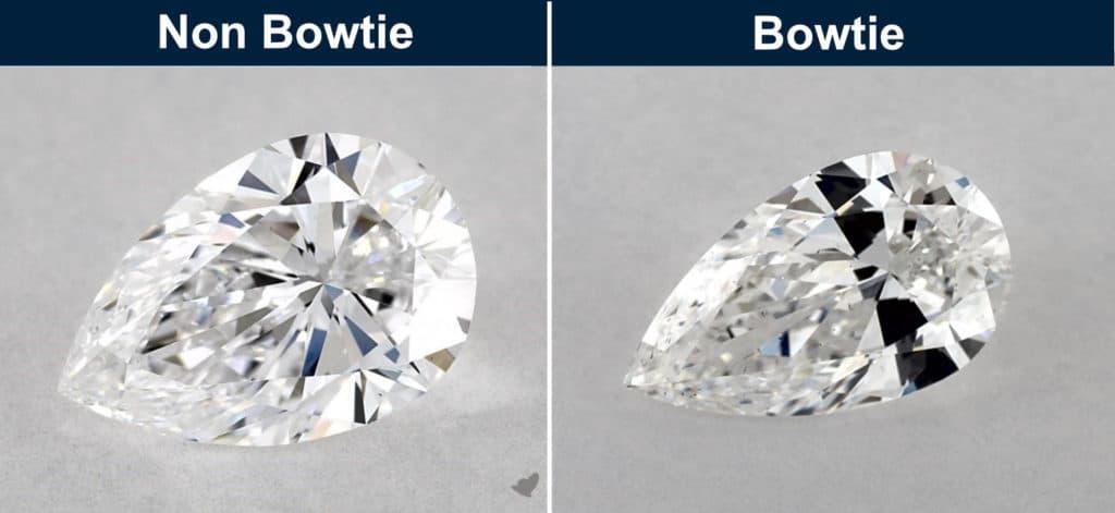 pear cut diamond bowtie effect